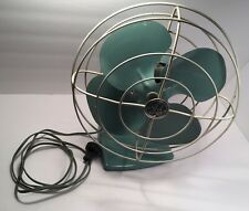 Vintage General Electric GE Desk Fan Green/White Guard. Works! Oscillates!! Nice