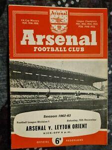 1962/63 ARSENAL v LEYTON ORIENT - 15th December 1962