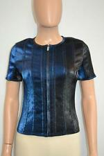 NWT Chanel 14K Blue/Black Lame Stretch Short Sleeve Zipper Top Size 36 $2,650