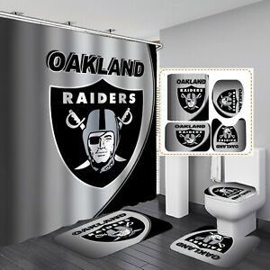Oakland Raiders Bathroom Rugs Set 4PCS Shower Curtain Toilet Lid Mat Cover Gifts