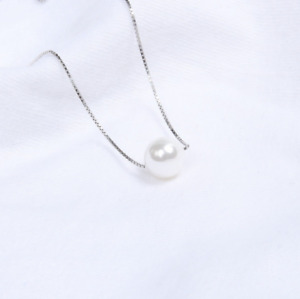 "16+2"" Chain Silver Floating 8mm Round Pearl Pendant Necklace S1"