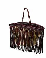 Moroccan Straw & Leather Fringe Shopping French Market Basket Bag Moroccan