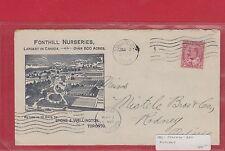 1908 Canada Edward ad cover Fonhill Nurseries dual cancels receiver