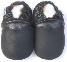 Freeship Soft Sole Leather Baby Infant Kid Boy Girl SheepSkin Black Shoes 12-18M