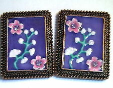 2 - 2 HOLE FOCAL BEADS ENAMEL FLOWER DESIGN LILAC AUSTRIAN CRYSTALS IN COPPER