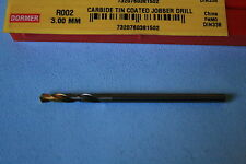 Dormer Drill R002 - 3.00mm Dia Solid Carbide Drill with TiN Tip Coating