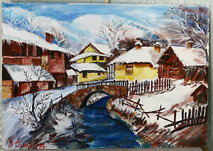 European VERY BEAUTIFUL WINTER LANDSCAPE - OLD HOUSES - tempera paints - SIGNED