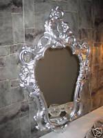 Wandspiegel oval Silber Barock Spiegel 50X76 Badspiegel Antik Rokoko Stil Mirror