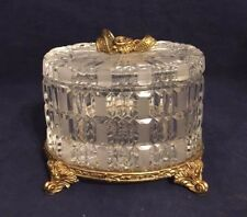 Vintage Crystal and Brass Lidded Jewelry Box