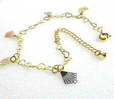 Plated Heart Charm 18+5 23cm Uk Women Adjustable Bracelet Anklet 14K Yello