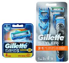 4 Gillette Fusion5 Proglide Power Rasierklingen +Proglide 3-In-1 Styler Rasierer