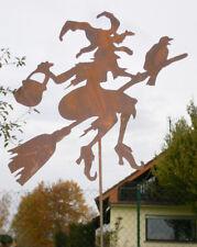 Stab Rost Edelrost Metall Gartenstecker Junge Hexe tanzend Hexen 50 x 37 cm