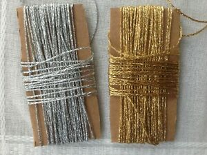 BAKERS TWINE 2mm 2 PLY Solid Gold or Silver Metallic - Craft String 10/20 m