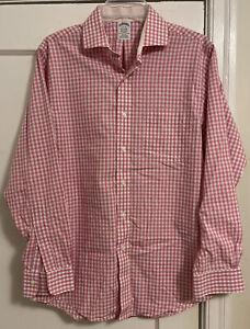 Brooks Brothers Non Iron Slim Fit Pink Gingham L/S Dress Shirt Men's Sz 15 - 33!