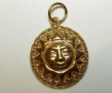 More details for fabulous, antique victorian 9 ct gold celestial sun face cannetille pendant