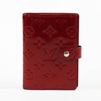"Louis Vuitton Red Monogram ""Vernis"" Patent Leather ""Small Ring Agenda"" Wallet"