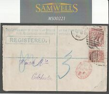 Ms221 1880 Gb Registered Stationery*Wimbledon* Bantam 1d Venetian Red Colchester