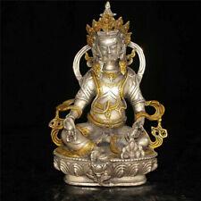 Old Tibetan Buddhism brass gilt silvering yellow Jambhala Buddha statue RN