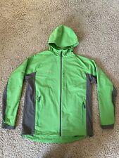 MAMMUT Men Size XL Softshell Jacket Lime Green Grey Hood Zip Up Stretch