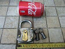 Vintage Germany Burg in Iron & Brass Large & Strong Padlock & Two Original Key