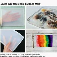 DIY Rectangle Silicone Mold Epoxy Casting Coaster Dish Plate Tray Mould Tool