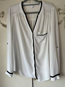 Arcadia Group Size 16 White Blouse With Black Edging Chest 50%
