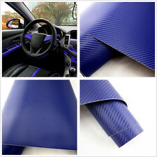 30*127cm Blue 3D Carbon Fiber Vinyl Wrap Roll Film Decals Car Home DIY Wallpaper