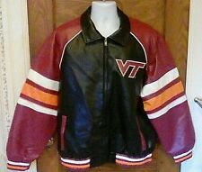 EUC G3 Virginia Tech VT Faux Leather Letterman Style Jacket Large Full Zip Large