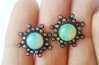 925 Sterling Silver Diamond Ethiopian Opal Stud Round Earring Jewelry E-719