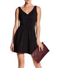 Betsey Johnson Black Women s Size 8 Metallic V-neck Sheath Dress  045 3b7cfec3a