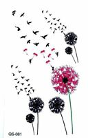 SMALL DANDELION & BIRDS TATTOO, HENNA FLOWER TEMPORARY TATTOO. BUY 2 GET 1 FREE!