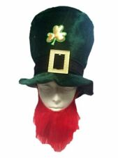 St. Patricks Day Green Hat & Beard Leprechaun Shamrock Costume Accessory