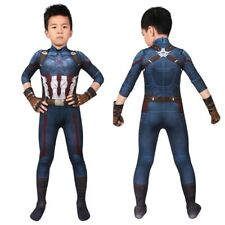 Captain America Costume Cosplay Suit Kids Steve Rogers Avengers Infinity War 3D