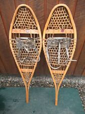 "Nice Great Snowshoes 42"" Long x 12"" Bastien + Leather Bindings Ready To Use"