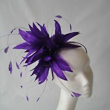 Purple Feather Fascinator for Weddings, Races and Proms