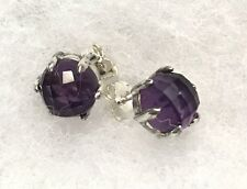 Silver Amethyst Earrings Post Studs Facet Silpada New! P2976 What A Gem Sterling