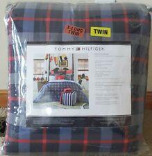 TOMMY HILFIGER Boston Plaid Navy Blue/Red/Lt BlueTWIN XL Comforter SET Dorm