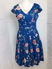 ORSAY UK8 36 Small V Neck A line Royal Blue Floral Knee Length Ladies Dress