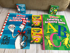 Dr Seuss Cat In The Hat Coloring Books + Notepads + Crayola Crayons New Kids Fun