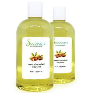 SWEET ALMOND OIL ORGANIC CARRIER COLD PRESSED REFINED NATURAL 100% PURE