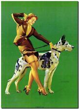 "Vintage GIL ELVGREN Pinup Girl CANVAS PRINT Perfect Pair dog 8X10"""