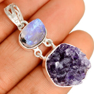 Amethyst Cluster - Uruguay & Moonstone Rough 925 Silver Pendant Jewelry BP76627