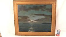 Antique Loran F Wilford Nocturnal Glowing Sky Seascape Oil Painting