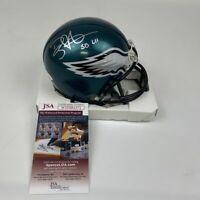 Autographed/Signed DOUG PEDERSON SB LII Super Bowl Eagles Mini Helmet JSA COA