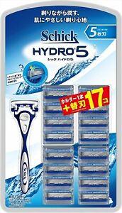 Schick Hydro 5 Holder + 17pc Refill Blades for Shaver 5-layer Men's Razor Japan