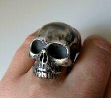 Huge Sterling Silver Skull Ring Anatomical Skull Keith Richards 65 grams