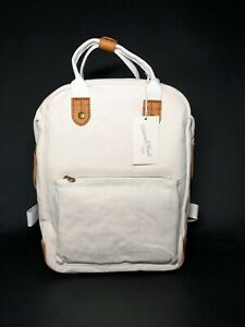 Universal Thread Backpack - Natural/Brown Canvas/Faux Tan Leather. Square shape