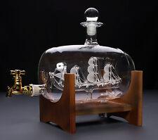 35 Oz. Denizli Barrel Decanter Wooden Stand, Handmade Spirits Dispenser w/ Ship