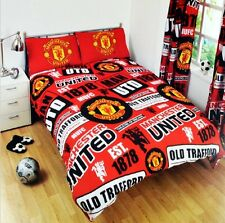 NEW MANCHESTER UNITED Double FOOTBALL DUVET QUILT COVER SET KIDS BEDROOM MAN UTD