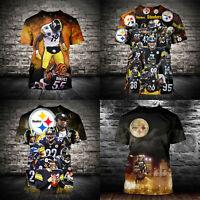 Pittsburgh Steelers Football T-Shirt Men Summer Casual Shirt Tee Short Sleeve